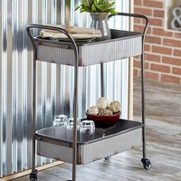 Metal Cart Rolling Corrugated Distressed Finish Functional Decorative Farmhouse Style