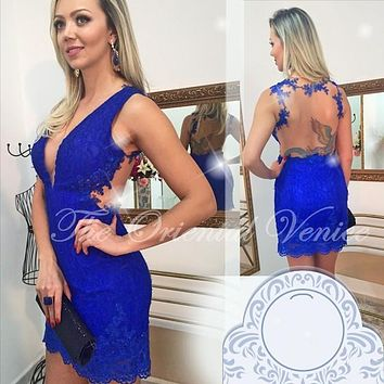 Royal Blue Lace Bodycon Cocktail Dress 2017 Sexy V-neck Short Mini Homecoming Dresses Robe de Cocktail Party Dress Backless Prom