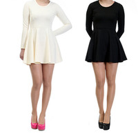 Womens Basic Plain Round Neck Empire Line Long Sleeve Skater Flare Mini Dress