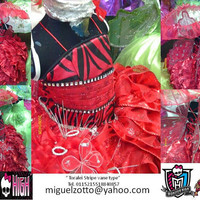 Monster High Toralei Stripe costume warecat doll Princess fairy red dress formal party medieval communion pink graduation dress cosplay