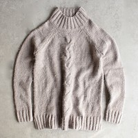 Final Sale - Minkpink - Now & Then Mock Neck Chunky Knit Sweater in Light Grey