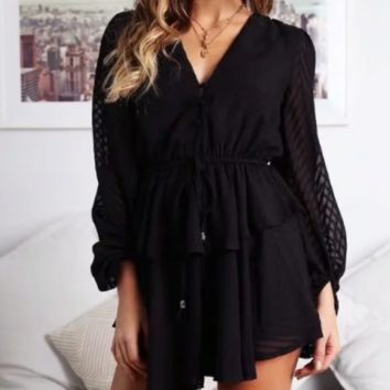 Spring and summer women's new lace V-neck long-sleeved dress