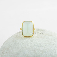 Silver Ring, Pyramid Ring, Aqua Chalcedony Pyramid 13x18mm, Gold Plated Ring 925 Sterling Silver Solitaire Ring Jewelry, Bezel Ring #1189