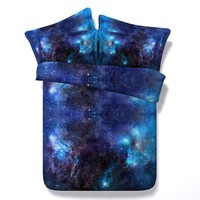 Cool 3D Galaxy Print Comforter Bedding Sets Twin Full Queen Super Cal King Size Bed Covers Bedclothes Universe Outer Space Blue Boy'sAT_93_12