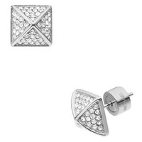 Michael Kors Pave Pyramid-Stud Earrings, Silver Color/Clear