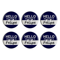 Felipe Hello My Name Is Plastic Resin Button Set of 6