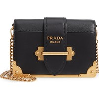 Prada Small Cahier Calfskin Leather Shoulder Bag | Nordstrom