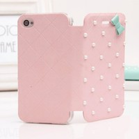 MagicPieces PU Leather Pearl and Bowtie Wallet Type Magnet Design Flip Case Cover for iPhone 5 in 5 Colors Pink