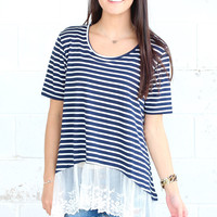 Striping Lace Ruffle Bottom Blouse {Navy}