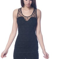 Polka Dot Mesh Top Dress - Black from Evening & Club at Lucky 21 Lucky 21