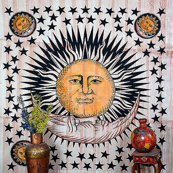 Sun Moon and Stars Printed Indian Tapestry Brown Wall Hanging BedSheet DBS089BR
