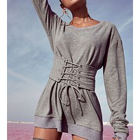 fhotwinter19 new style hot sale big round neck slim strap mid-length ladies sweater