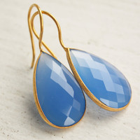 Blue Chalcedony Teardrop Earrings Sky Blue Gemstone by OhKuol