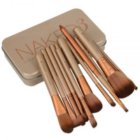 New 12 pcs Top Grade professional Cosmetic makeup brushes set with Metal boxes