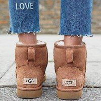 "Wearwinds ""UGG"" Winter Popular Women Cute Ankle Wool Snow Boots Brown Shoes I/A"