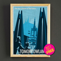 Vintage Disneyland Tomorrowland Attraction Poster Reprint Home Wall Decor Gift Linen Print - Buy 2 Get 1 FREE - 373s2g