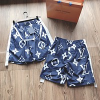 LV Louis Vuitton contrast color stitching full printed large letter logo printed casual shorts
