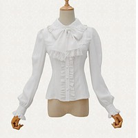 Victorian Lolita White Chiffon & Lace High-Necked Lantern Sleeve Shirt Blouse Sexy Corset Steampunk Gothic Clothing Accessories