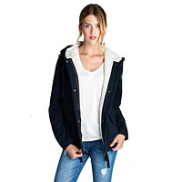 Faux Fur-Lined Contrast Anorak Parka Jacket in Navy