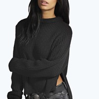 Wendy Chunky Knit Side Split Jumper With Step Hem