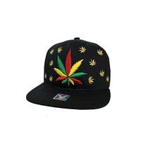 Rasta Colored All Crown Printed Weed Embroidered Plant Logo Snap Back