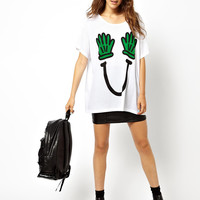 White Mickey Mouse Hand Green with Smile Print T-shirt