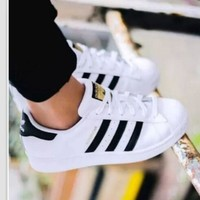 """Adidas"" New Fashion Shell-toe Flats Sport Sneakers For Women Men Shoes White Black Golden"