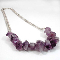 Raw Amethyst Crystal and Sterling Silver Chain by WoobieLove