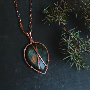 seer's labradorite necklace • large labradorite pendant necklace - copper crystal necklace - witch jewelry - labradorite teardrop