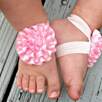 READY TO SHIP..Baby Barefoot Sandals..Pink Puff Flowers..Toddler Sandals..Newborn Sandals
