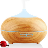 URPOWER 300ml Aroma Essential Oil Diffuser,Urpower Wood Grain Ultrasonic Cool Mist Whisper-Quiet Humidifier with Color LED Lights Changing & 4 Timer Settings, Waterless Auto Shut-Off