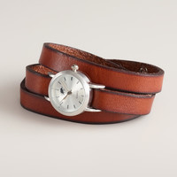 Brown Leather Wrap Watch - World Market