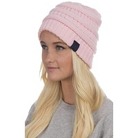 Cable Knit Beanie in Pink by Lauren James