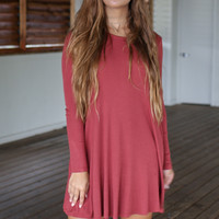 Ember Nights Marsala Solid Long Sleeve Pocket Detail Dress