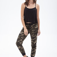 FOREVER 21 Camo Drawstring Sweatpants Olive/Brown