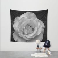 Rose in Black and White Wall Tapestry by BavosiPhotoArt