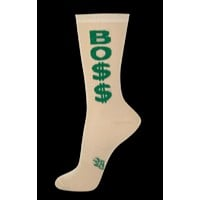 Bo$$ Sparkle Sheer Unisex Crew Socks in Gold and Green