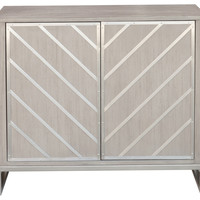 Modern Retro Style Chevron Door Chest, Light Gray - Transitional - Accent Chests And Cabinets - by HomeFare
