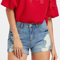 Bleach Wash Cuffed Distressed Denim Shorts