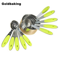 Set of 10pcs Stainless Steel Measuring Cups And Measuring Spoon Scoop Silicone Handle Kitchen Measuring Tool