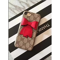 Bowknot iphone 6 phone shell iPhone 7plus / 8 / 6s leather printing protective cover