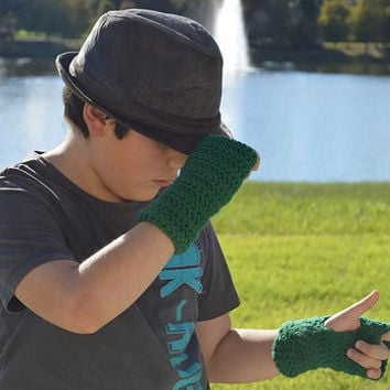 Green Fingerless Crochet Handmade Mittens @MystifyGifts Children Fingerless Gloves Crocheted Mittens Arm Warmers Kid Boy Girl Kids Christmas