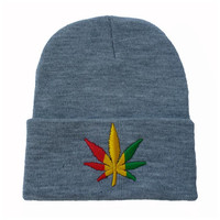 Weed Leaf Embroidered Warm Winter Beanie Womens & Mens Knitted Gray Cuffed Skully Hat