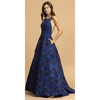 Printed Long Prom Dress Navy Blue with Pockets