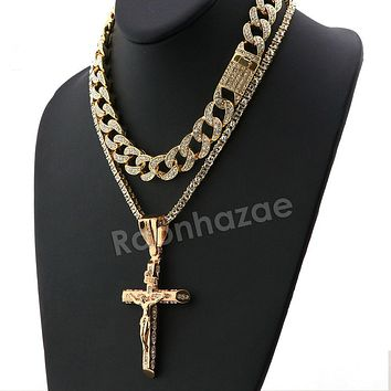 Hip Hop Quavo Small Cross Miami Cuban Choker Tennis Chain Necklace L15