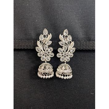 Silver Rhodium plated Leaf design Jhumka Earrings