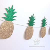 Gold & Green Glitter Pineapple Garland || Tropical Fruit Garland || Gold Pineapple Party || Gold Glitter Pineapple Decor || Gold Luau Party