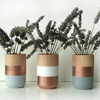 Set of 3 Painted Wooden Vases Holiday Decor