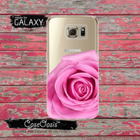 Pink Real Rose Flower Floral Petals Cute Tumblr Inspired Clear Galaxy S6 Case and Clear Galaxy S6 Edge Case Custom Samsung Case
