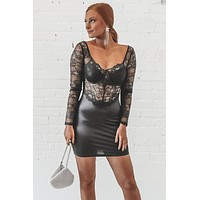 Abbey Road Black Lace Sweetheart Dress